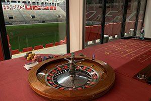 Wir waren auch schon im Fussballstadion mit unseren mobilen Casinotischen